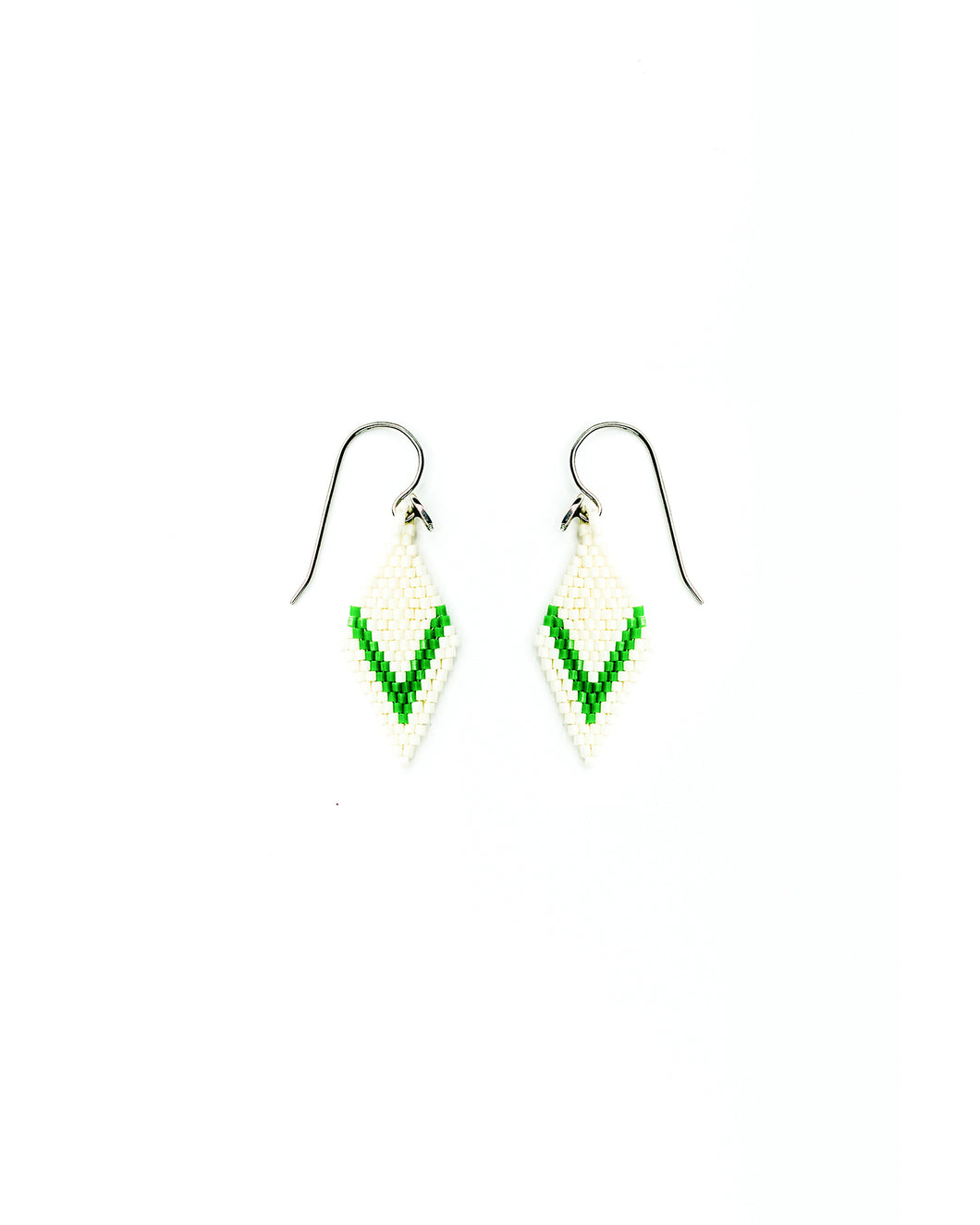 Ojo Earrings - Green on Matte Cream