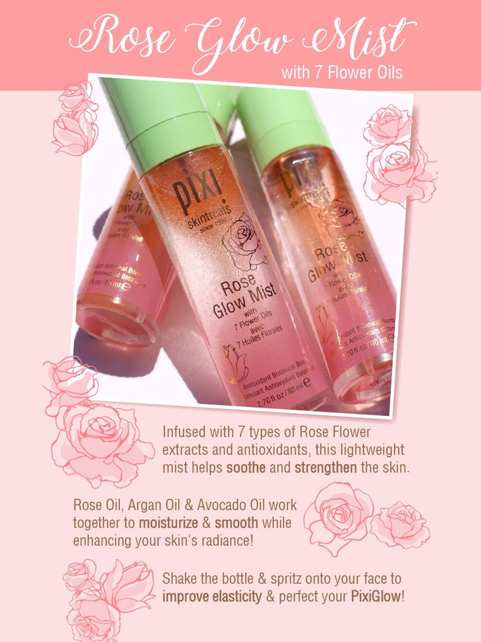 PIXI Rose Glow Mist, 2.70 fl oz (80 ml)