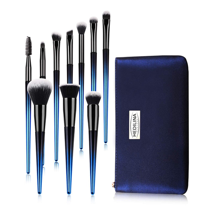 Makeup Brushes Set with a Portable Cosmetic Bag - HEDILINA 10 pcs