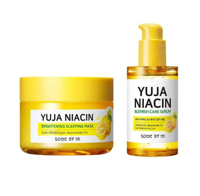 YUJA NIACIN BLEMISH CARE SERUM + BRIGHTENING SLEEPING MASK SET