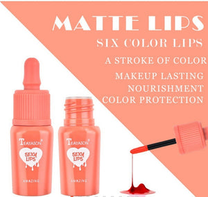 TEAYASON Liquid Lip Gloss Matte Lip Dyeing Moisturizing Makeup 6 Colors