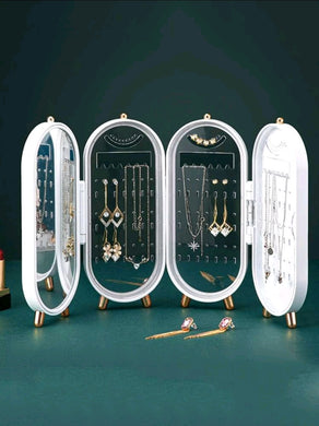 Plastic Large Jewelry Box Organizer 4 Fan Storage Case Necklace Earrings Ring Mirror Display Desktop Jewel Holder(Random Colour)