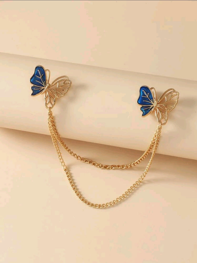 Buttergly Decore Chain Collar Brooch