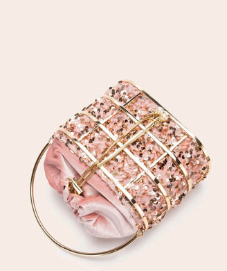 Metal Decore Drawstring clutch bag