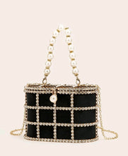 Load image into Gallery viewer, Rhinestone and Faux Pearl Decore Chain Clutch Bag