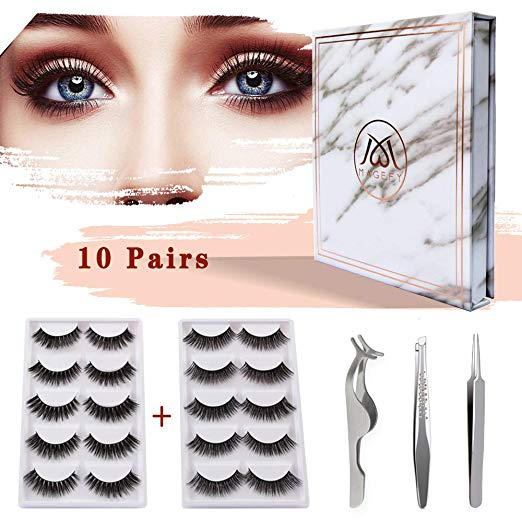 MAGEFY 10 Pairs 2 Styles Fake Eyelashes Reusable