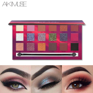 AIKIMUSE Eyeshadow Palette 18 Colors Glitter Eye Shadow With 10 Matte + 8 Shimmer,Long Lasting Waterproof Pigmented Make Up Eyeshadow Palette