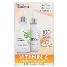 Load image into Gallery viewer, Vitamin C Serum Duo - 100 Days of Age Defying Benefits, With Hyaluronic Acid & Vitamin E, Brighten & Defend, Anti-Aging, Wrinkle Reducer & Sun Damage