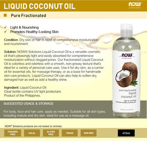 Now Foods, Solutions, Liquid Coconut Oil, Pure Fractionated