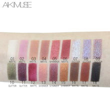 Load image into Gallery viewer, AIKIMUSE Eyeshadow Palette 18 Colors Glitter Eye Shadow With 10 Matte + 8 Shimmer,Long Lasting Waterproof Pigmented Make Up Eyeshadow Palette