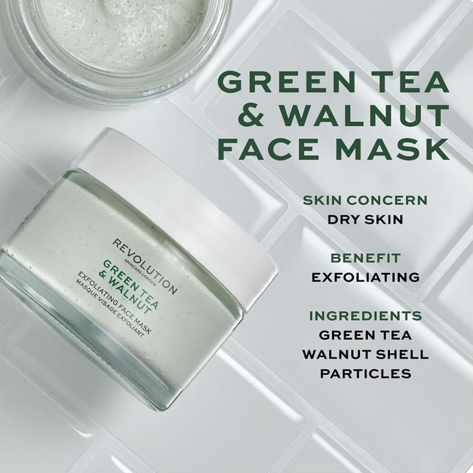 REVOLUTION SKINCARE  GREEN TEA AND WALNUT EXFOLIATING FACE MASK
