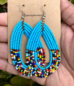 Sky Blue + Multi African Earrings
