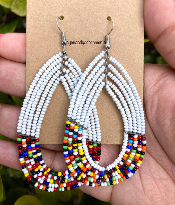 White + Multi African Earrings