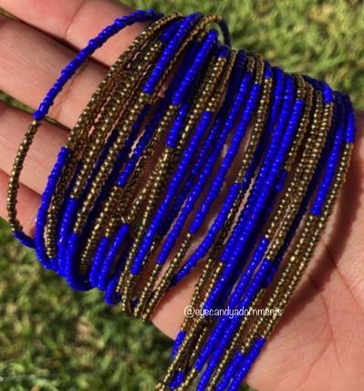 Navy Blue and Bronze Color Block Screw On Waist Beads