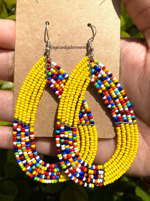 Yellow + Multi Beaded Earrings