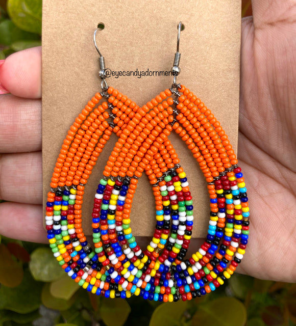 Orange + Multi African Earrings