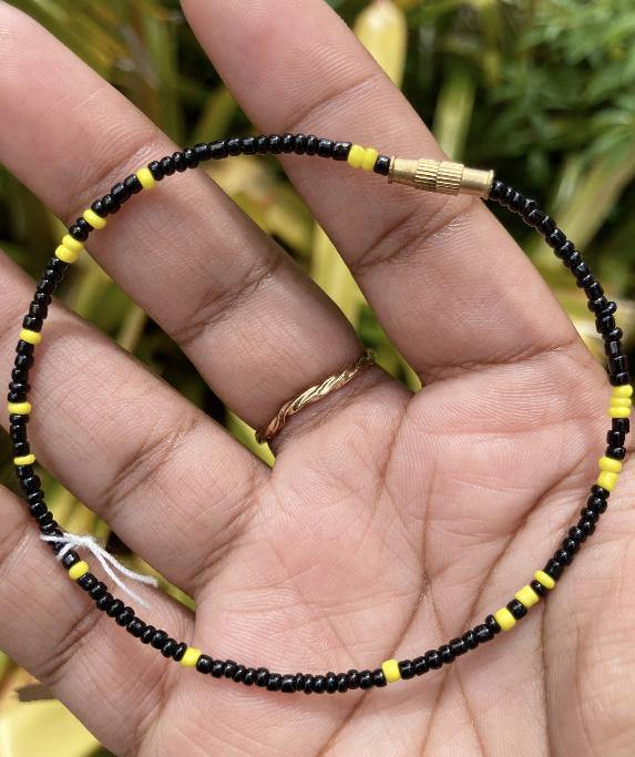 Black and Yellow Anklet - Eye Candy Adornments