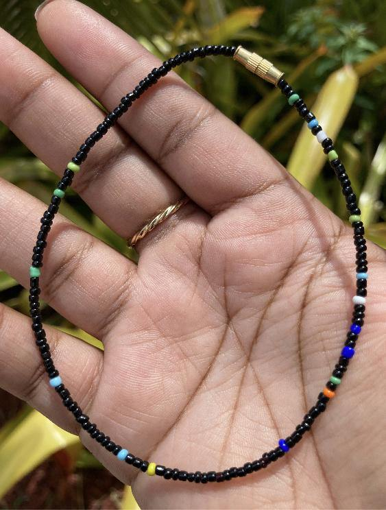 Black and Rainbow Mix Anklet