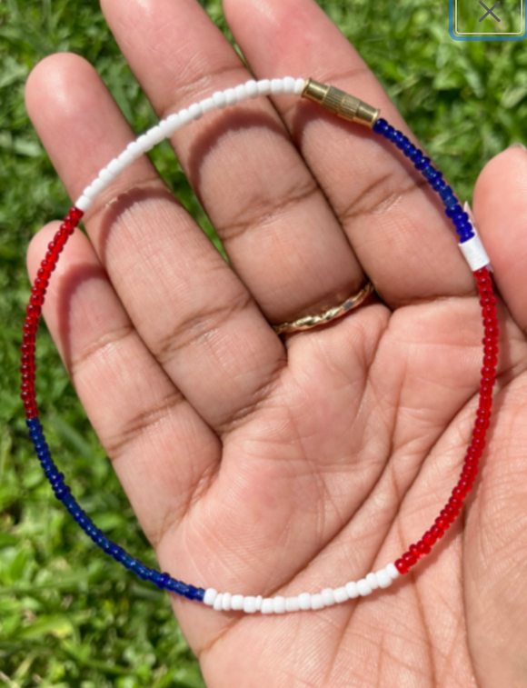 Red, White & Blue Color Block Screw on Anklet or Bracelet
