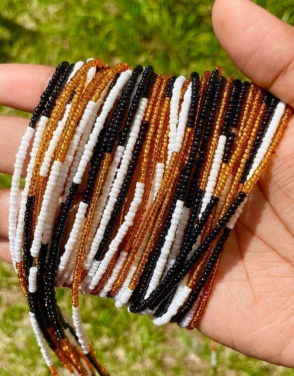 Black, White and Gold Color Block Screw On Waist Beads