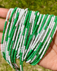 Green and White Color Block Screw On Waist Beads