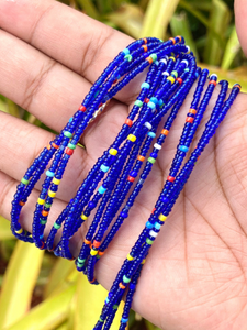Glass Navy Blue & Rainbow Removable Screw On Waist Beads