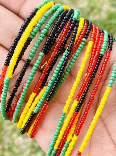 rasta bead red beads yellow beads green beads black beads waist beads african beads