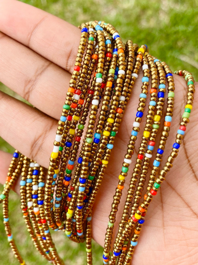 Bronze & Rainbow Mix Removable Screw On Waist Beads