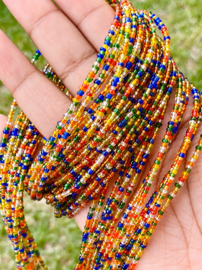 Glass Rainbow Removable Screw On Waist Beads