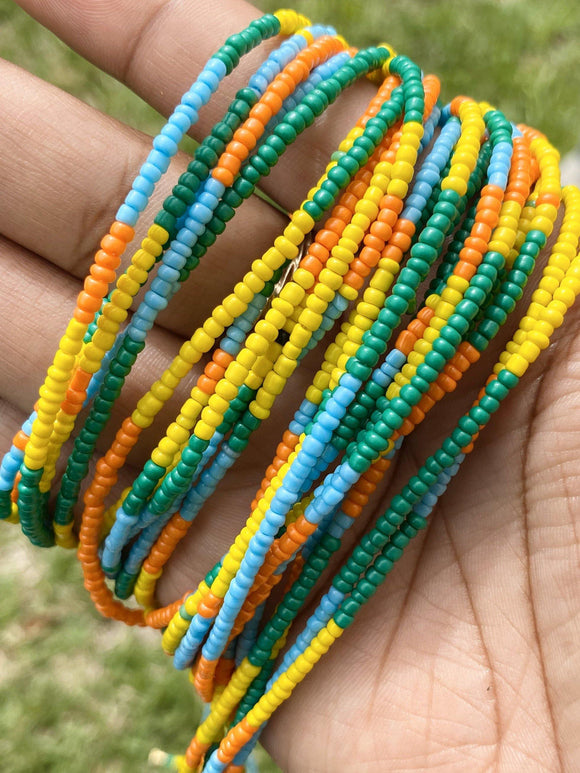 Yellow, Green, Blue & Orange Color Block Removable Screw On Waist Beads