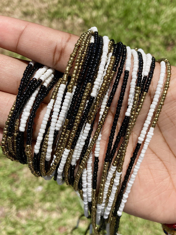 White, Black & Bronze Color Block Removable Screw On Waist Beads