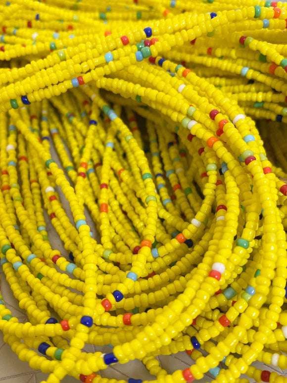 Yellow & Rainbow Mix Removable Screw On Waist Beads