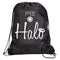 Halo Nylon Drawstring Bag-Black