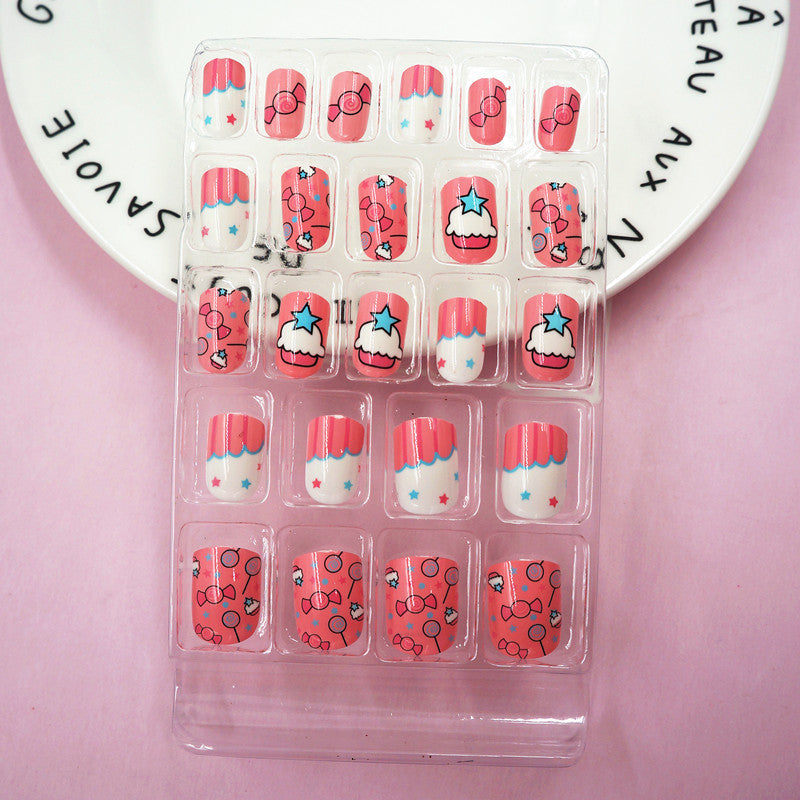 High Quality Children Candy False Nail Tips Cartoon 24pc Full Cover Ki