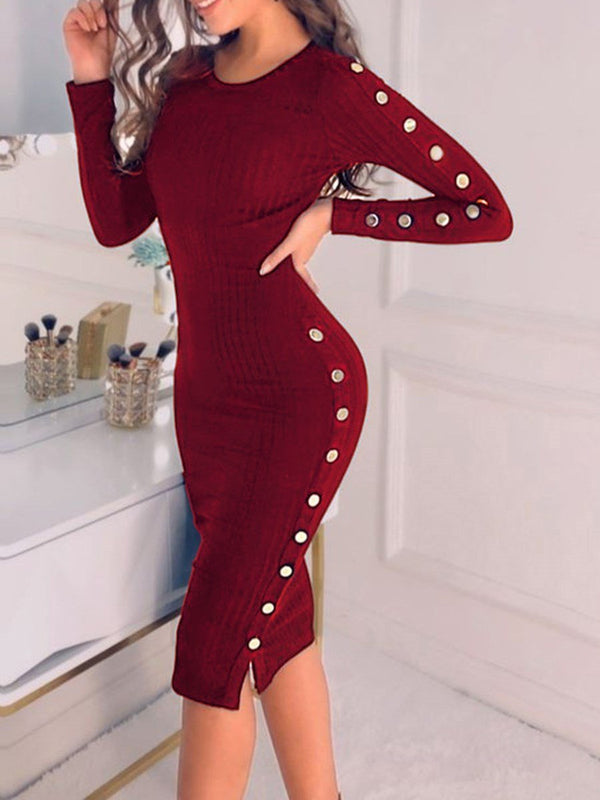 Round Neck Mid-Calf Long Sleeve Pullover Sheath Dress