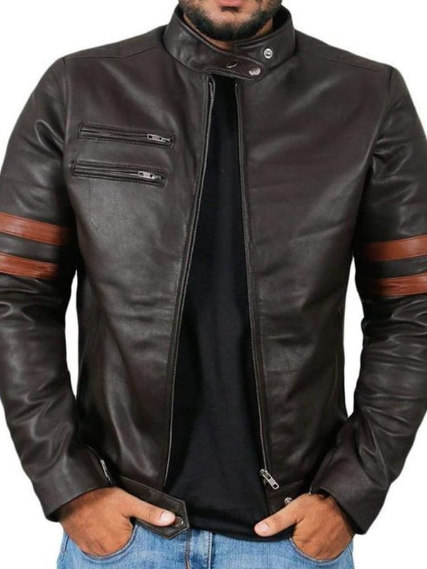 Stand Collar Standard Zipper Patchwork Leather Jacket
