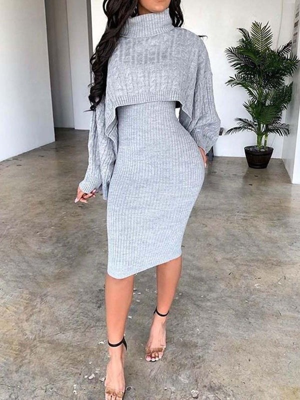 Casual Plain Sweater Bodycon Turtleneck Two Piece Sets