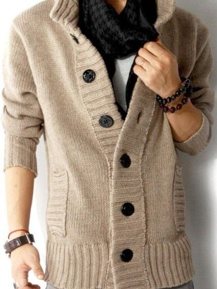 Standard Stand Collar Single-Breasted Loose Sweater