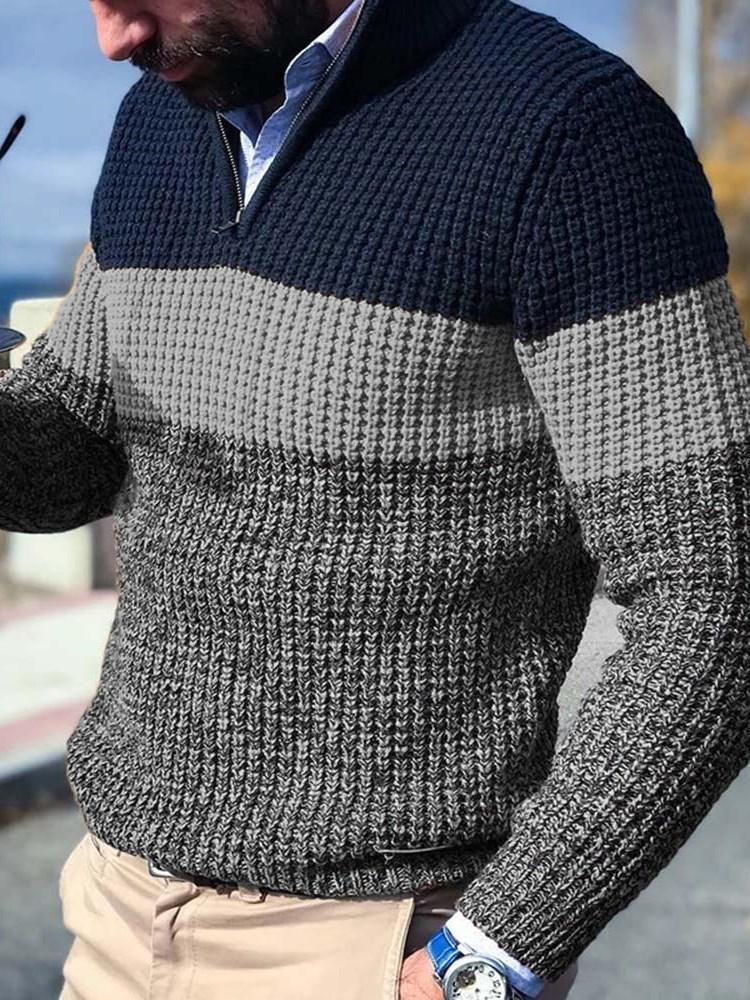 Color Block Standard Fall Casual Sweater