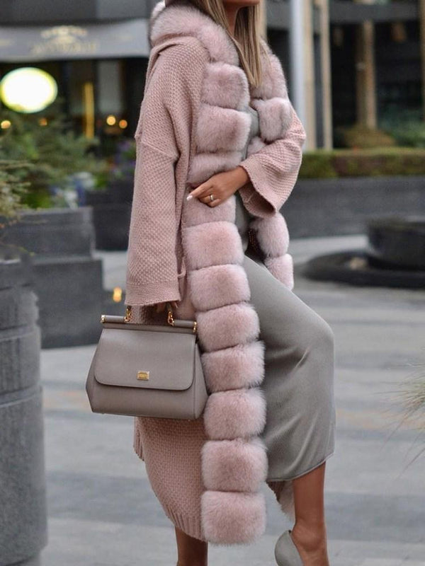 Long Regular Wrapped Thick Faux Fur Overcoat