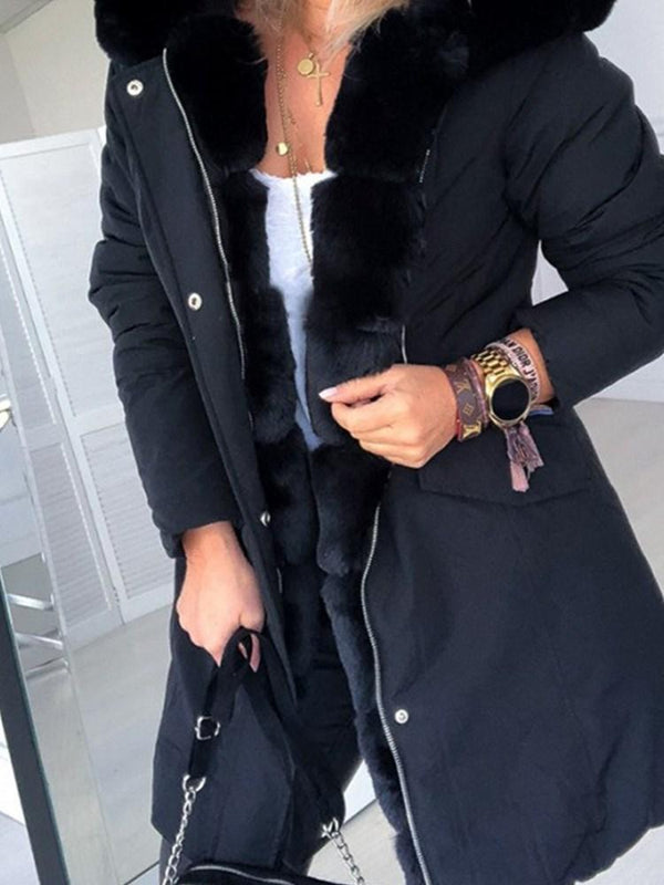 Mid-Length Hooded Patchwork Regular Casual Trench Coat