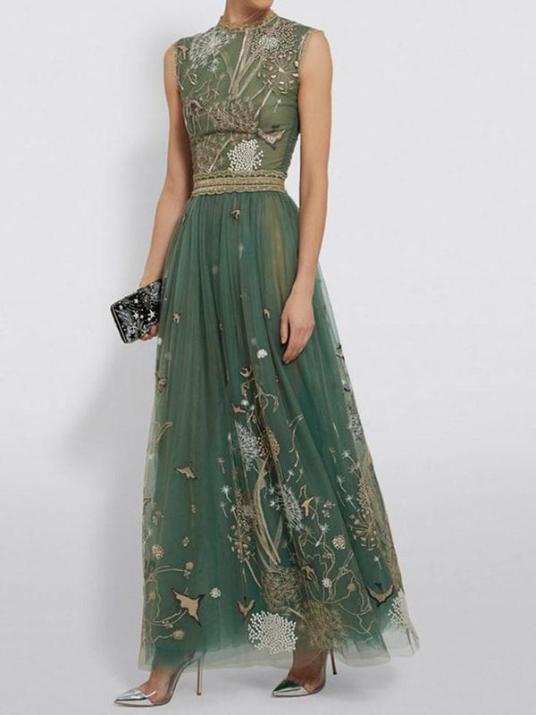 Sleeveless Embroidery Floor-Length A-Line Pullover Dress