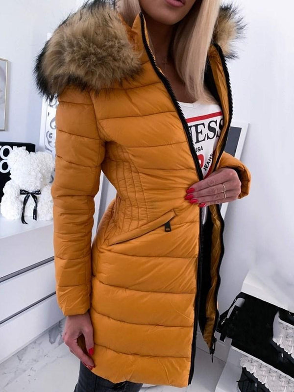 Zipper A Line Mid-Length Cotton Padded Jacket