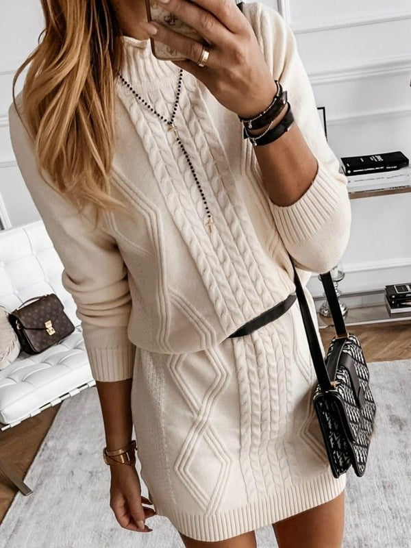 Long Sleeve Stand Collar Above Knee Fall Casual Dress