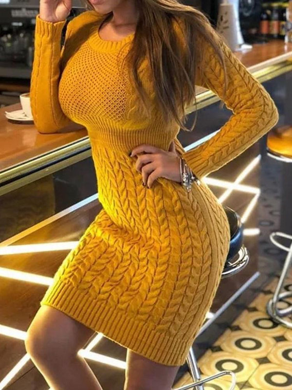 Above Knee Round Neck Long Sleeve Regular Casual Dress