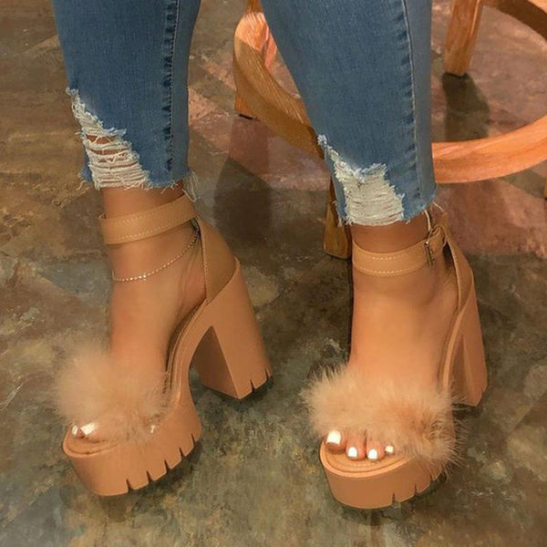 Line-Style Buckle Ankle Strap Open Toe Chunky Heel Casual Platform Sandals