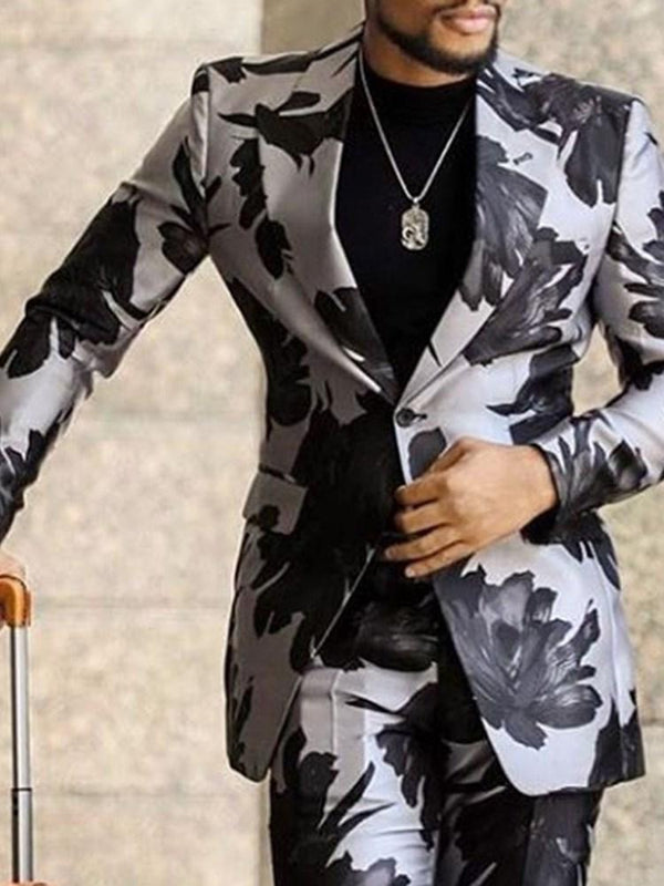 Print Single-Breasted Floral leisure Suit