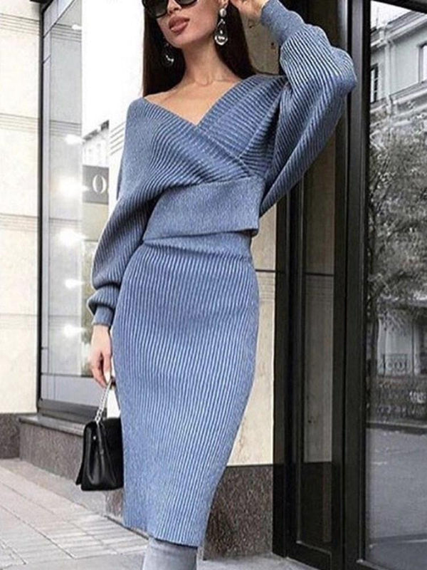 Casual Skirt Plain Pullover V-Neck Two Piece Sets