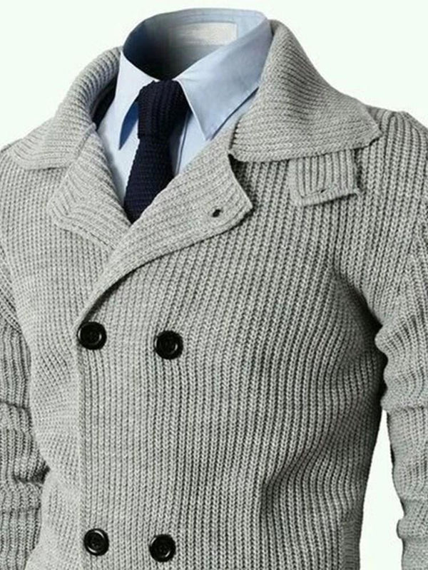 Lapel Standard Button Double-Breasted Slim Sweater