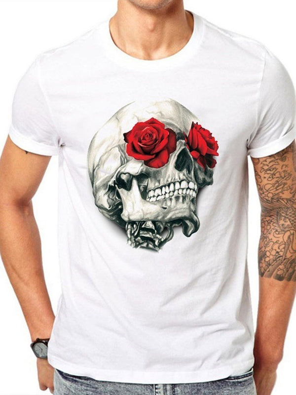 Print European Skull Straight Short Sleeve T-shirt